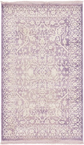 Unique Loom New Classical Collection Traditional Distressed Vintage Classic Purple Area Rug (3' 3 x 5' 3) (Purple Rug Area Light)