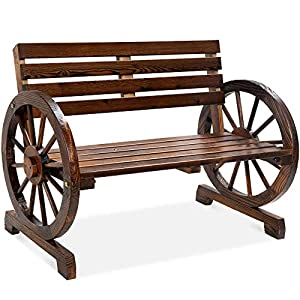 Best Choice Products 2-Person Wooden Wagon Wheel Bench for Backyard, Patio, Porch, Garden, Outdoor Lounge Furniture w…