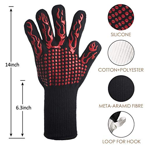 DsFiyeng BBQ Gloves Grill Gloves Oven Gloves 932°F for Cooking, Grilling, Baking- Grill & Kitchen Accessories by DsFiyeng (Image #2)