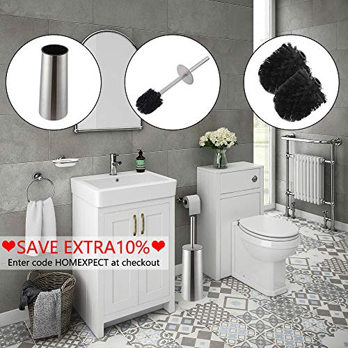 Homexpect Toilet Bowl Brush and Holder with 2 Removable Toilet Brush Heads 304 Stainless Steel