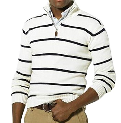 OULIU Mens Casual Half-Zip Stripe Slim Fit Knit Pullover Sweater White L