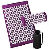 Acupressure Mat and Pillow Set for Back/Neck Pain Relief and Muscle Relaxation (Purple)