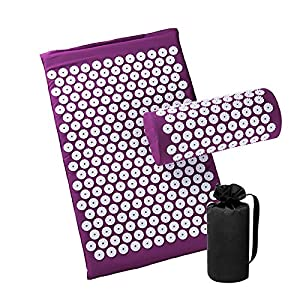 Gut Health Shop 51%2B9gI2QcXL._SS300_ Acupressure Mat and Pillow Set for Back/Neck Pain Relief and Muscle Relaxation (Purple)
