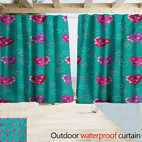 (Lcxzjgk Teal Curtains for Bedroom Crystal Hearts Gemstone Figures Love Valentines Day Celebrating Romantic Print Insulated with Grommet Curtains for Bedroom W55 xL63 Red Fuchsia Teal )