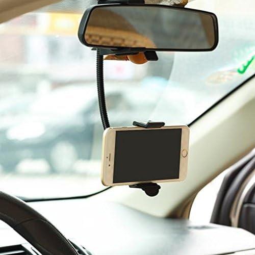 Rear View Mirror Car Mount Holder Swivel Cradle for Samsung Galaxy J3 J7 S8 S9 + LG G6 G7 ThinQ V35 V40 Note 8 9 All Smartphones Google Pixel 2 3 XL iPhone X XR XS 6S 7 8 Plus ZTE Moto Z