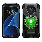 Samsung Galaxy S7 Hybrid Case Zombie OutBreak Response Team Green on Black 2 Piece Style Silicone Case Cover with Stand for Samsung Galaxy S7