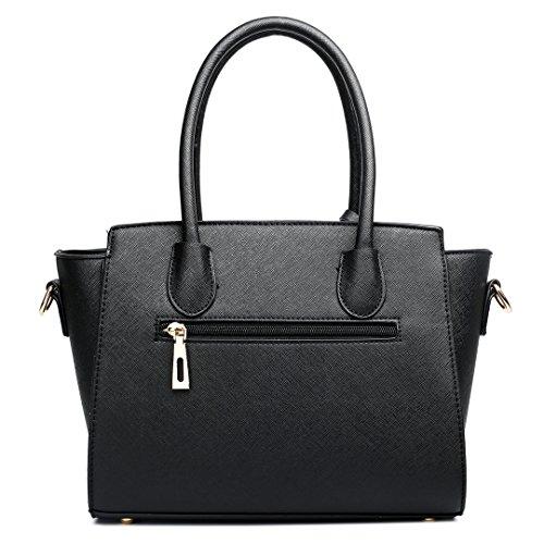 Small Black Satchel White Winged Women Shoulder Faux Bag 1625 Handbag Leather Miss Lulu PA8RqxgwwY