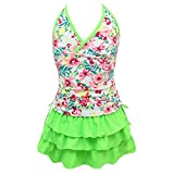 qyqkfly Girls' 2 Piece 4Y-15Y Florence Adjustable Tankini Swimsuit (FBA) (XX-Large(16), Green)