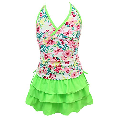 qyqkfly Girls' 2 Piece 4Y-15Y Florence Adjustable Tankini Swimsuit (FBA) (XX-Large(16), Green) by qyqkfly