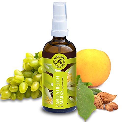 Stretch Mark Massage Oil 3.4oz - 100% Natural w/Jojoba Oils - Almond - Neroli - Mandarin - Glass Bottle by Aromatika