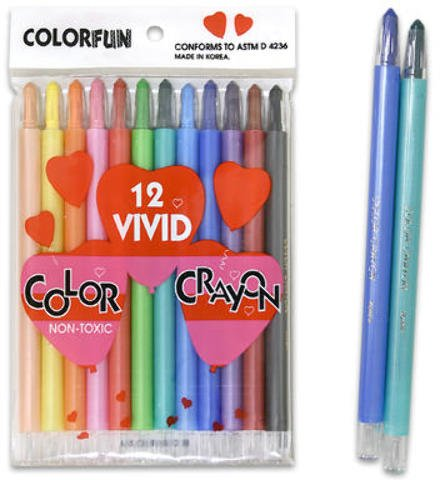 Crayon, 12 Pack Twist Stripe-Kor 192 pcs sku# 920319MA by DDI