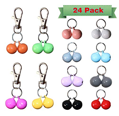RYPET Cat Collar Bells (24 Pack), Strongest & Loudest Dog Collar Bells, Bell Training Charm Pendants for Pet Cat Dog Necklace Collar ()