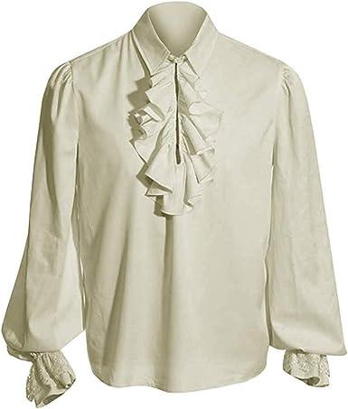 WEIMEITE Hombres Medieval Renacimiento Túnica Pirata Camisa con Cordones Edad Media Vikingo Cosplay Túnica Disfraces Retro con Mangas Esponjosas: Amazon.es: Ropa y accesorios