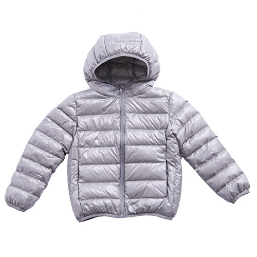 Kids' Down Jacket Straight Line Lightweight Rain-Proof Jacket with Hood and Pockets (6-8Y, - Ultralight Running Jacket