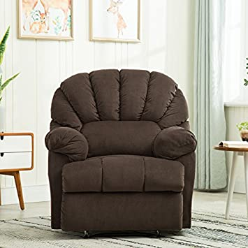 BONZY Scalloped Plush Reliner Chair Living Room Recliner with Padded Arms – Chocolate
