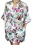Ms Lovely Women's Floral Satin Bridesmaid Robe Short Kimono W/Pockets for Bridal Party - White M/L