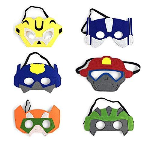 Baken Boy Birthday Party Favors Felt Masks Boy Birthday Gifts for Rescue Bots Party Supplies (6 PCs) ()