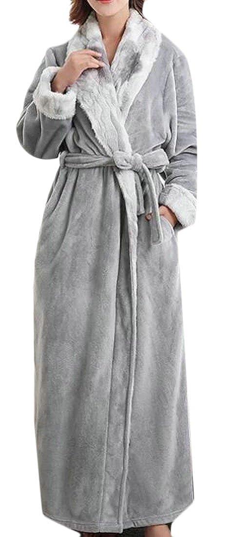 Smallwin Women's Soft Thick Housecoat Flannel Plush Bathrobe Long Robes