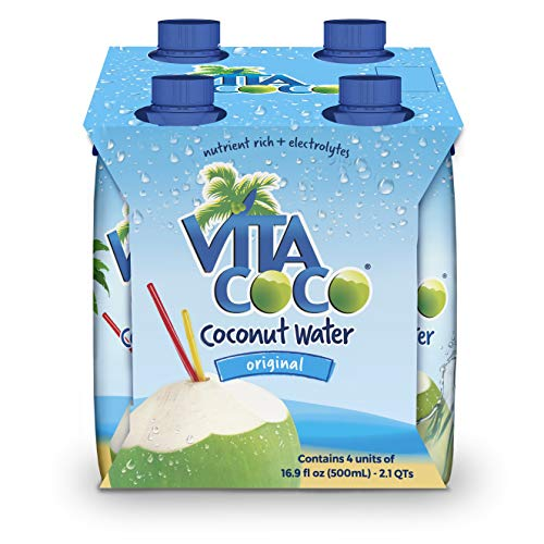 Vita Coco Coconut Water, Pure - Naturally Hydrating Electrolyte Drink - Smart Alternative to Coffee, Soda, and Sports Drinks - Gluten Free - 16.9 Ounce (Pack of 4)