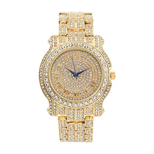 (Bling-ed Out Ultimate Gold Hip Hop Royalty Mens Watch - L0504 Gold)