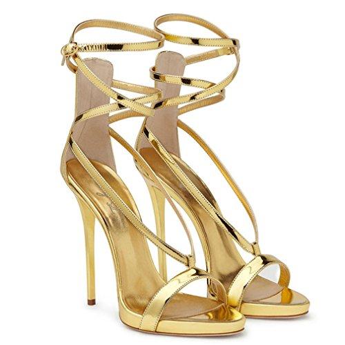 Scarpe Cinturino LUCKY Lace EU42 A Block Donna Up Heel Alla Toe Sandali EU37 46 Ladies Party Peep Buckle Gold Strappy CLOVER Caviglia ZrZq174