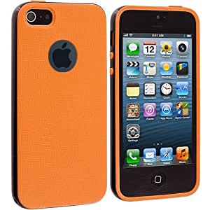 Accessory Planet(TM) Orange / Black Hybrid TPU Bumper Hard Frame Case Cover for Apple iPhone 5 / 5S