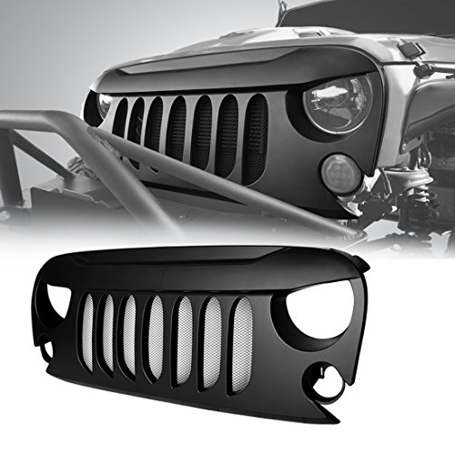 IPARTS Front Matte Black Beast Grille Grid Grill with Built-In Mesh Front Accessories for Jeep Wrangler 2007 2008 2009 2010 2011 2012 2013 2014 2015 2016 2017 Rubicon Sahara Sport JK JKU
