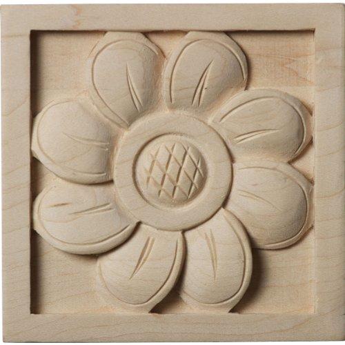 Small Rosette - Ekena Millwork ROS03X03X00SFLW Small Sunflower Rosette, 3-Inch x 3-Inch x 5/8-Inch, Lindenwood