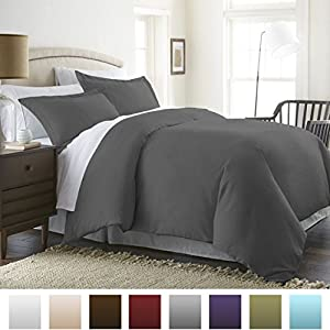 Beckham Luxury Linens Soft Brushed Hypoallergenic Microfiber 3-Piece Full/Queen Duvet Cover Set, Gray