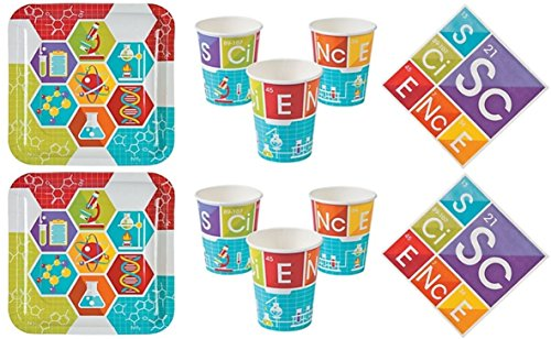 Science Theme Tableware for 16 - Paper Plates , Cups and Napkins