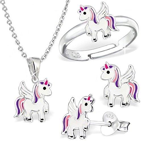 GH * Kleine Unicornio Juego Ring + Colgante + Collar + Pendientes Plata de ley 925niños niña Pegasus Caballo