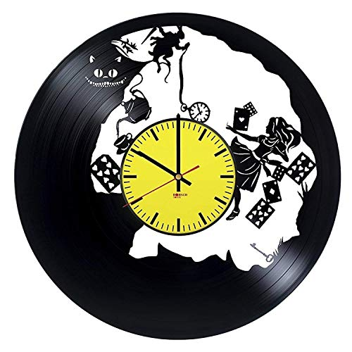 Alice in Wonderland Handmade Vinyl Record Wall Clock - Get unique living room or nursery wall decor - Gift ideas for children - Fantasy Movie Characters Unique Art Design ()