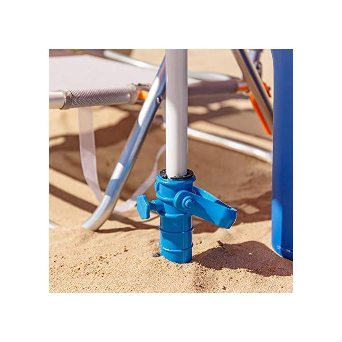 51%2B9kJ MajL Esta sombrilla está hecha de protección UV y poliéster antidecoloración que es perfecta para bloquear los dañinos rayos UV del sol. Es inclinable, regulable en altura y plegable. Una propuesta novedosa, práctica y funcional para disfrutar de laplayay el sol, que te garantiza una buena sombra.
