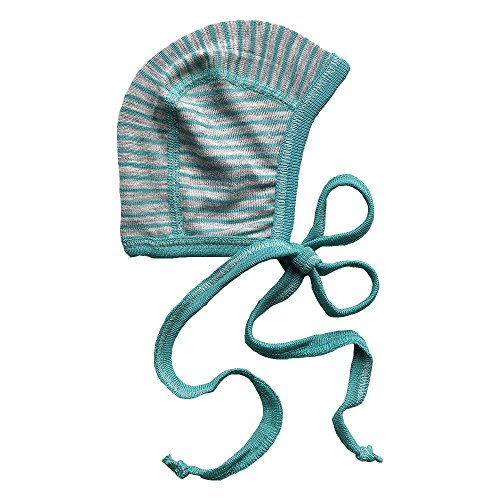(Newborn Baby Bonnet Hat with Ties, Organic Merino Wool & Silk Clothes Essentials (50-56cm/0-3months, Teal Blue))