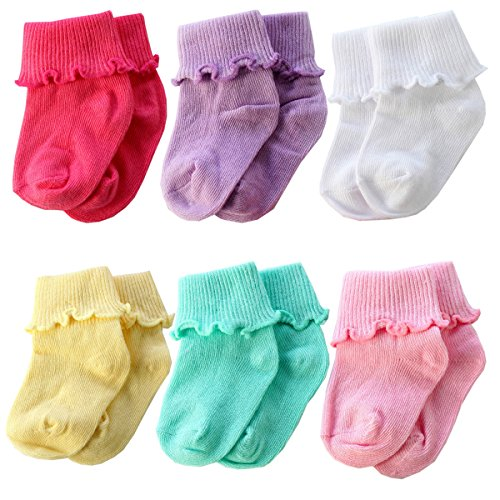 6 Pairs Infant Toddler Baby Colorful Cotton Warm Crew Socks from Sanwit (0-12 month) -