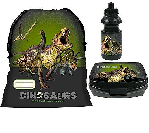 3 tlg. DINOSAURIER - Set - Turnbeutel + Brotdose + Trinkflasche - Motiv: Tyrannosaurus Rex, Triceratops, Brachiosaurus, Pteranodon - Sportbeutel / Lunchbox