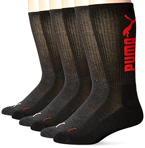 PUMA Socks Men's Logo Crew Socks, Black Combo, 10-13/6-12