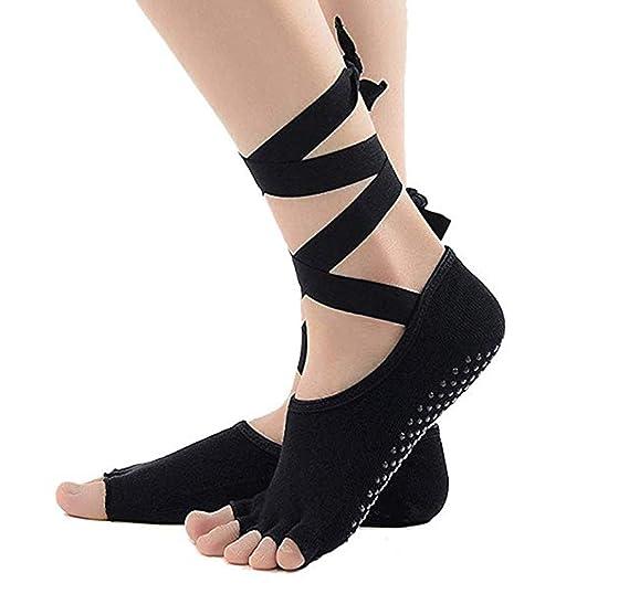 Calcetines Yoga Pilates Anti-deslizante para Mujeres con Correa de Tobillo Barre, Ballet, Danza, Calcetines Bikram Fitness de Agarre, Algodón (Negro): ...