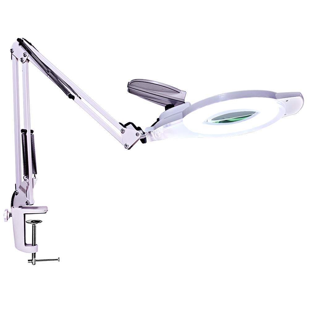 LED Magnifying Lamp, Alisr 1,200 Lumens Dimmable Super Bright Daylight Magnifying Glass with Light, Adjustable Swivel Arm and Magnifier Lens for Reading, Crafts, Close Work, Instrument Repair- White