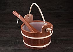 Good seller hand made 4L Solid Wood Red Cedar Sauna Bucket/Pail with Ladle