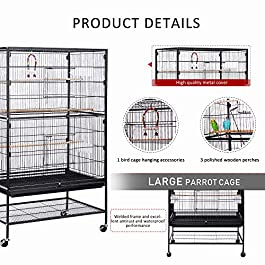 VIVOHOME Wrought Iron Large Bird Cage for Parrots Conures Lovebird Cockatiel Parakeets