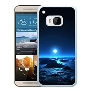 New Beautiful Custom Designed Cover Case For HTC ONE M9 With Sea The Moon (2) Phone Case