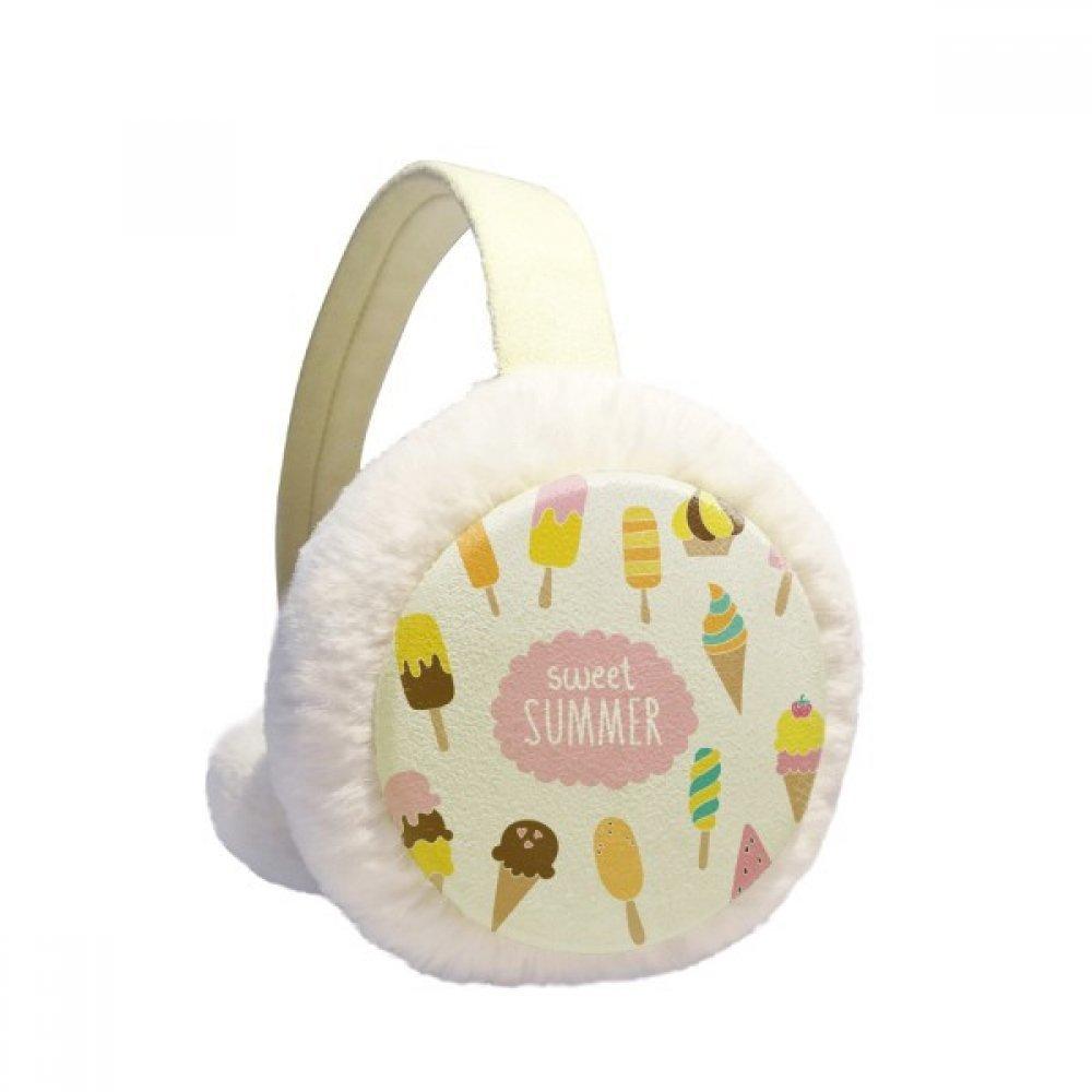 Diverse Sweet Summer Ice Cream Winter Earmuffs Ear Warmers Faux Fur Foldable Plush Outdoor Gift