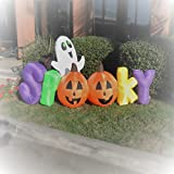 7 Foot Spooky Ghost Pumpkin Halloween Party Portable Air Blown Inflatable Yard Decoration with LED Lights and Blower Fan Motor