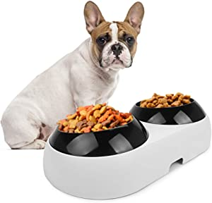 Slanted Dog Bowl for Bulldogs,French Bulldog Bowl,Double Food Water Bowls for Flat-Faced Dogs & Cats,BPA Free Tilted Plastic Feeding Raised Bowls,Non-Skid Slope Base Stand & Non-Spill Pet Feeder Dish