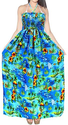 - LA LEELA Soft  Printed Halter Length Knee Tube Dress Bright Blue 380 One Size