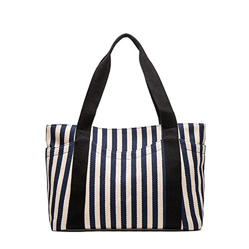 Sornean Striped Cotton Heavy Canvas Shoulder Hand Bag Tote Bag for Woman , Zipper Top,with Outer Pocket (Dark Blue strips)