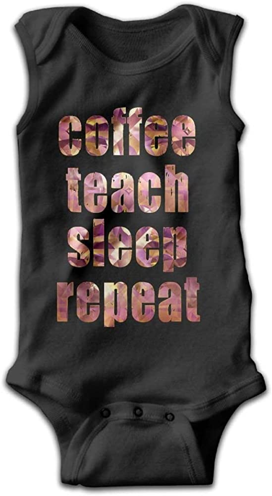 Infant Coffee Teach Sleep Repeat Funny Teacher Onesies Outfits as picture12 Months