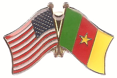 Pack of 3 Cameroon & US Crossed Flag Double Lapel Pins, Cameroon & American Friendship Pin Badge