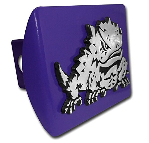 "Texas Christian University TCU ""Purple with Chrome ""Horned Frog"" Emblem"" NCAA College Sports Trailer Hitch Cover Fits 2 Inch Auto Car Truck Receiver Elektroplate TCU-FRG-PURP-HC"